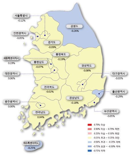 """서울 아파트 9주 연속 하락…""""급매물만 간간이 거래"""""""
