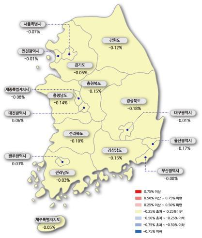 서울 아파트값 14주간 내렸다