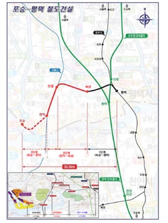 포승∼평택 단선철도 2단계 구간 궤도공정 12월 착공